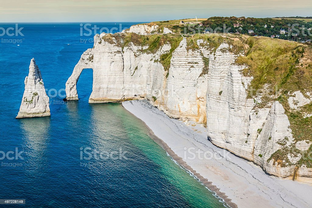 The famous cliffs at Etretat in Normandy, France stock photo