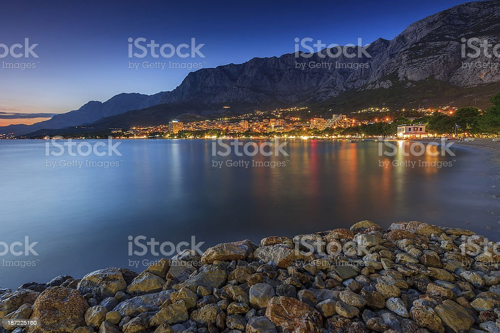 The famous Croatian riviera at night,Makarska,Croatia royalty-free stock photo