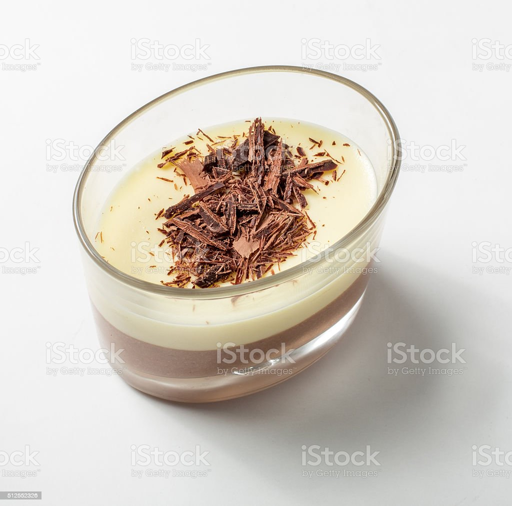 The famous dessert - Bavarian cream decorated with chocolate. stock photo