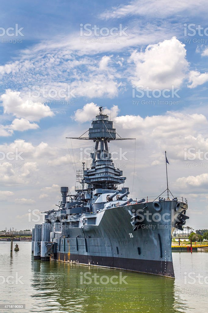 The famous dreadnought battleship Texas, moored stock photo