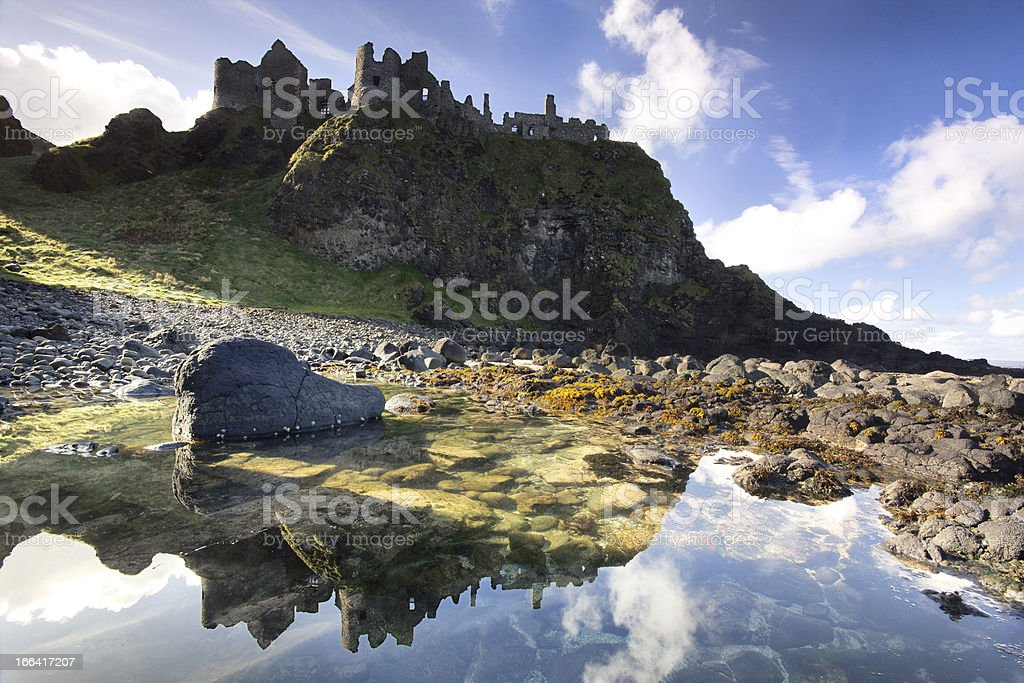 The famous Dunluce Castle in Northern Ireland. stock photo