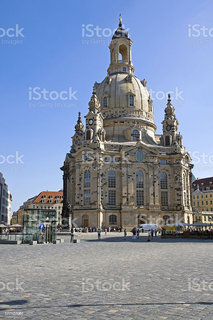 The famous Frauenkirche in Dresden stock photo