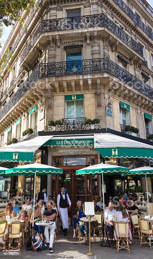 The famous French cafe Les deux magots, Paris, France. stock photo