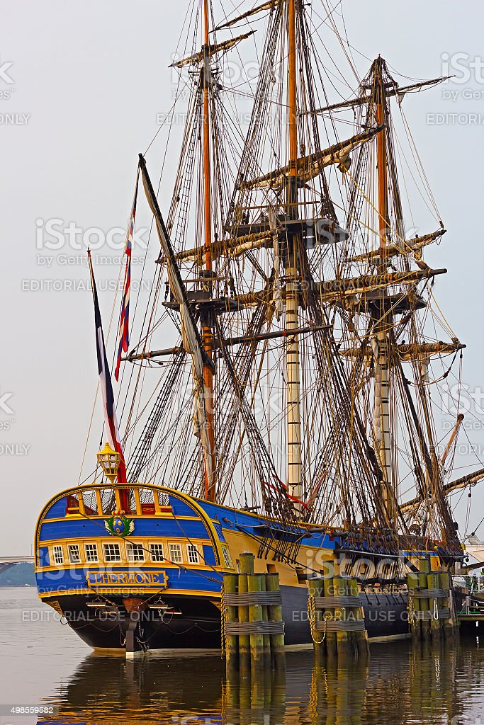 The famous frigate with reflections in the morning. stock photo