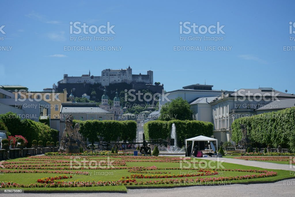The famous garden of Salzburg Schloss Mirabell with the Festung Hohensalzburg in the background stock photo