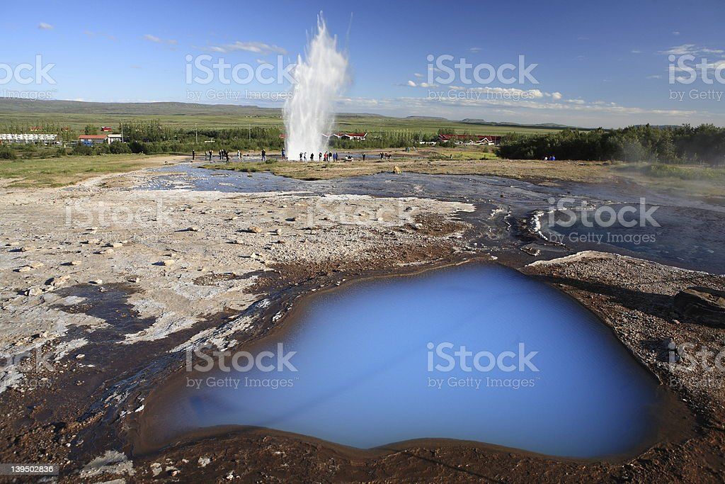 The famous geyser named Strokkur at Geysir, Iceland stock photo