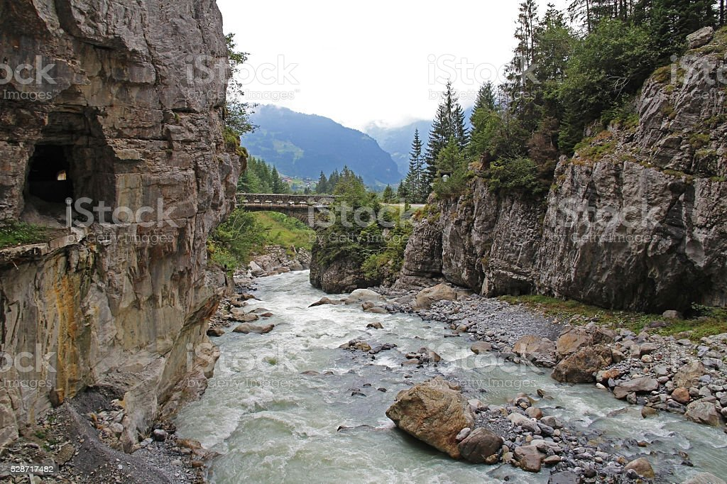 The famous Glacier Gorge in Grindelwald in the Bernese Alps. stock photo