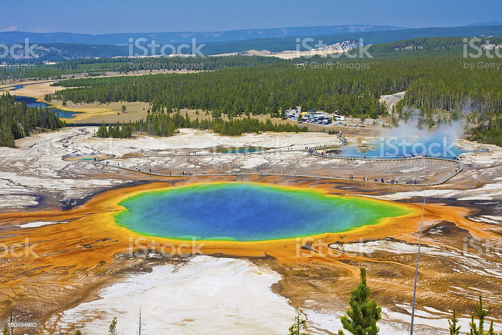 The Famous Grand Prismatic Spring in Yellowstone National Park,USA stock photo