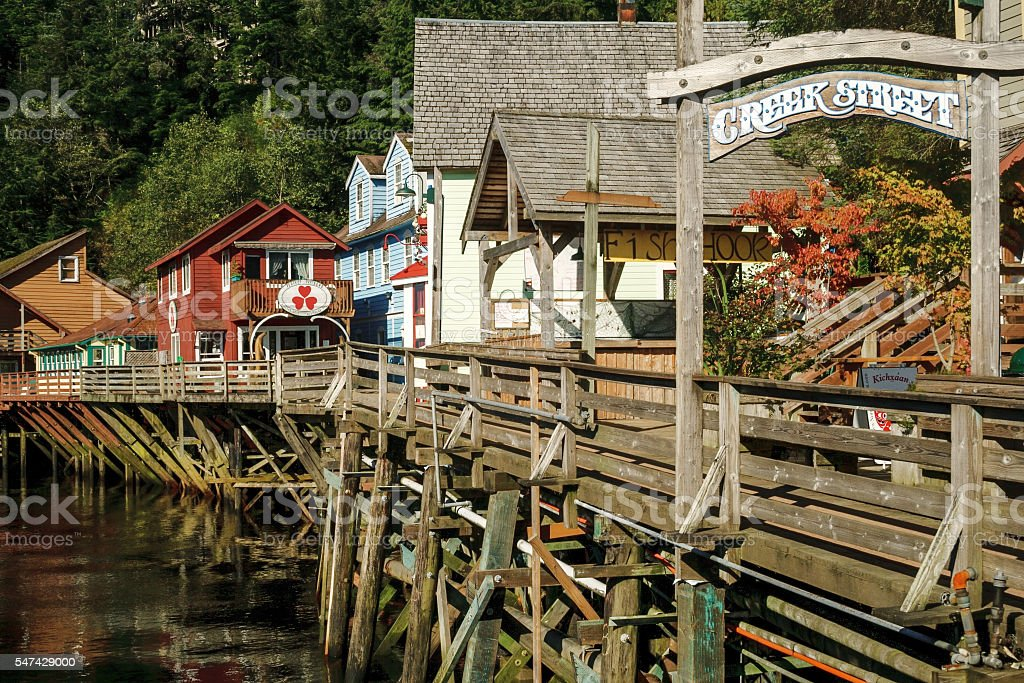 The famous historic Creek Street in Ketchikan Alaska stock photo
