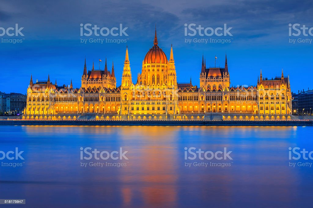 The famous Hungarian Parliament at night,Budapest,Hungary,Europe stock photo
