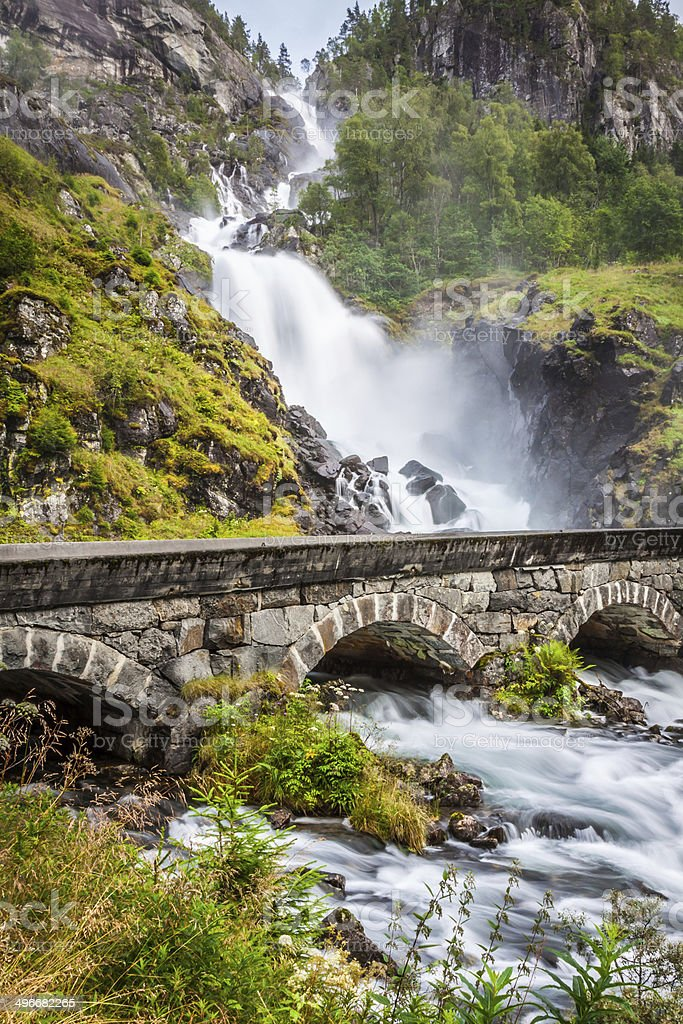 The famous Laatefossen in Odda, one of the biggest waterfalls stock photo