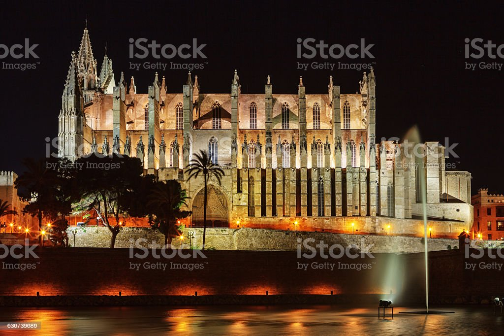 The famous medieval gothic cathedral of Palma de Mallorca, Spain stock photo