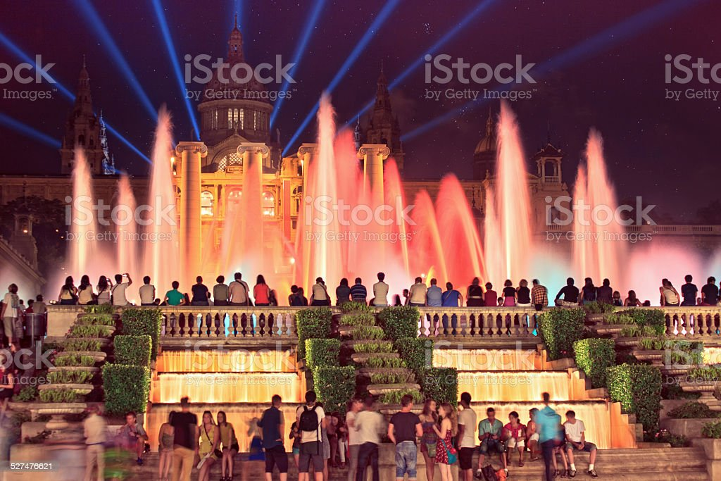 The famous Montjuic Fountain in Barcelona.Spain. stock photo