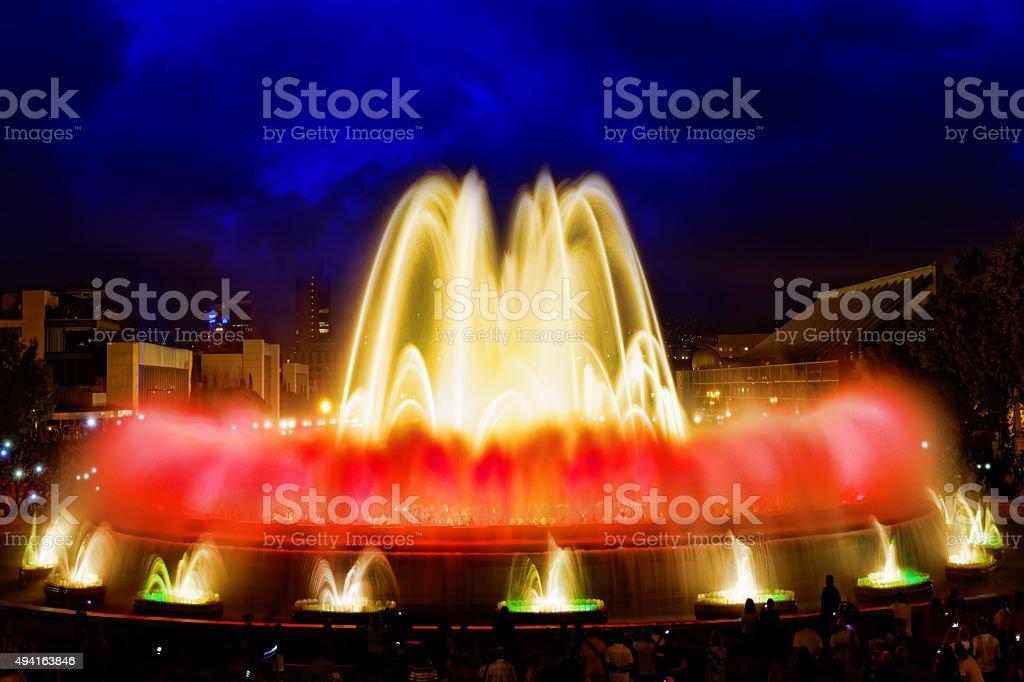 The famous Montjuic Fountain stock photo