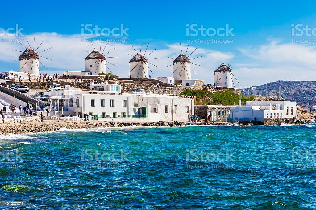 The famous Mykonos windmills stock photo