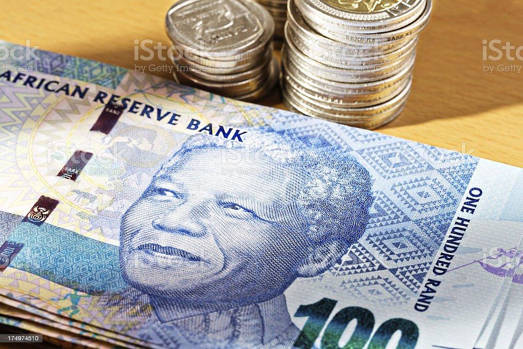 The famous Nelson Mandela smile on new Hundred Rand note stock photo