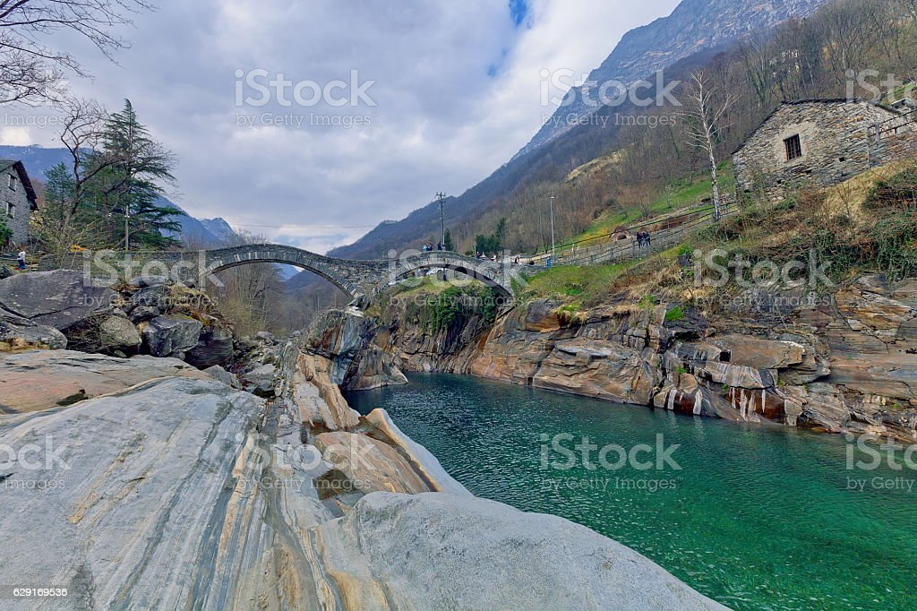 The famous old bridge Ponte dei Salti in Lavertezzo, Switzerland stock photo