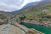 The famous old bridge Ponte dei Salti in Lavertezzo, Switzerland