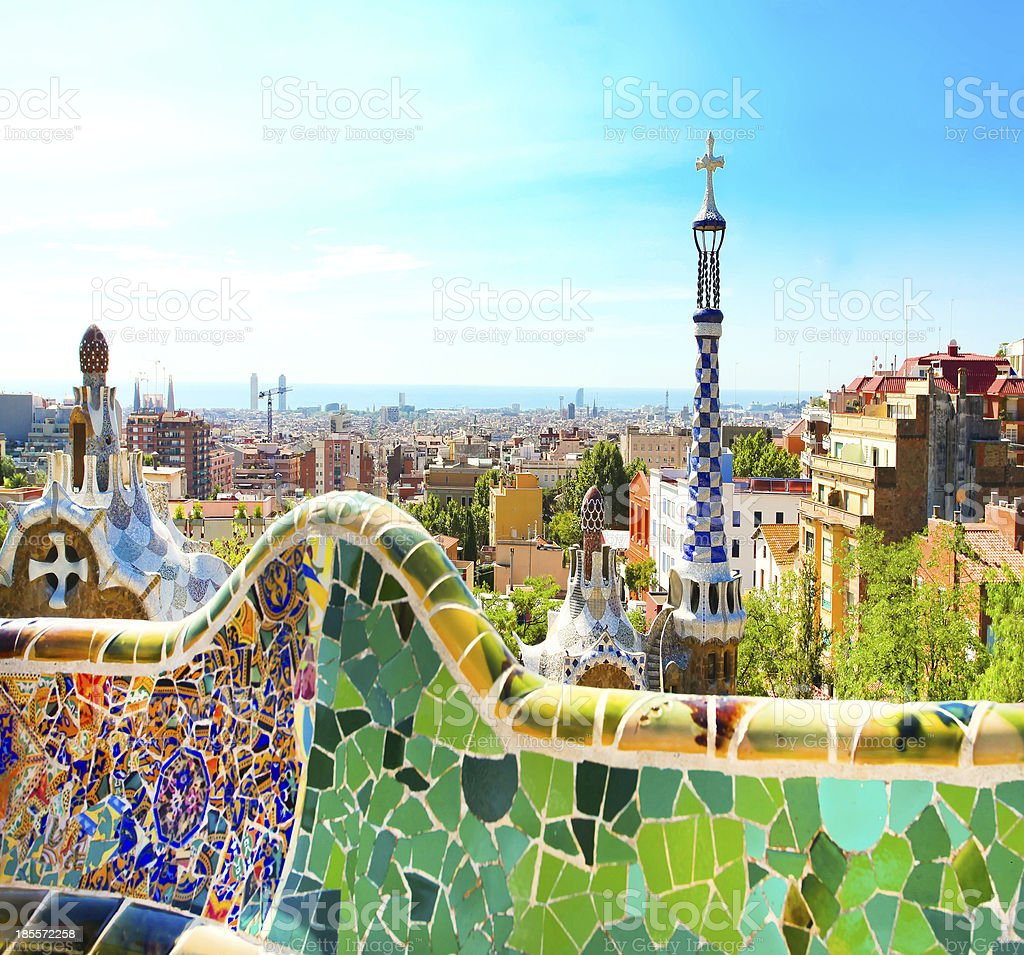 BARCELONA, SPAIN - JULY 25: The famous Park Guell stock photo