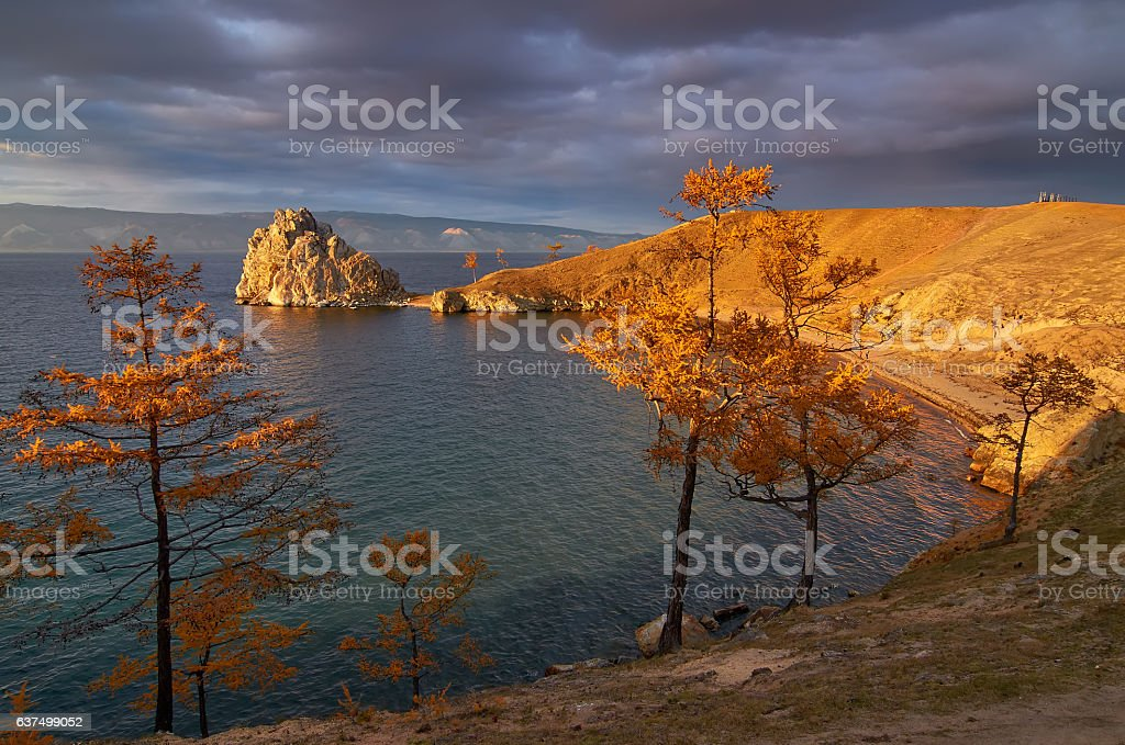 The famous place of lake Baikal - Shamanka cape, Russia stock photo