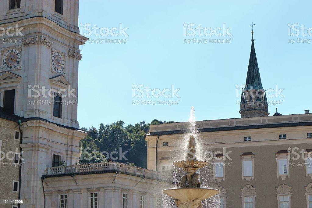 The famous Residenzplatz in Salzburg, Austria. stock photo