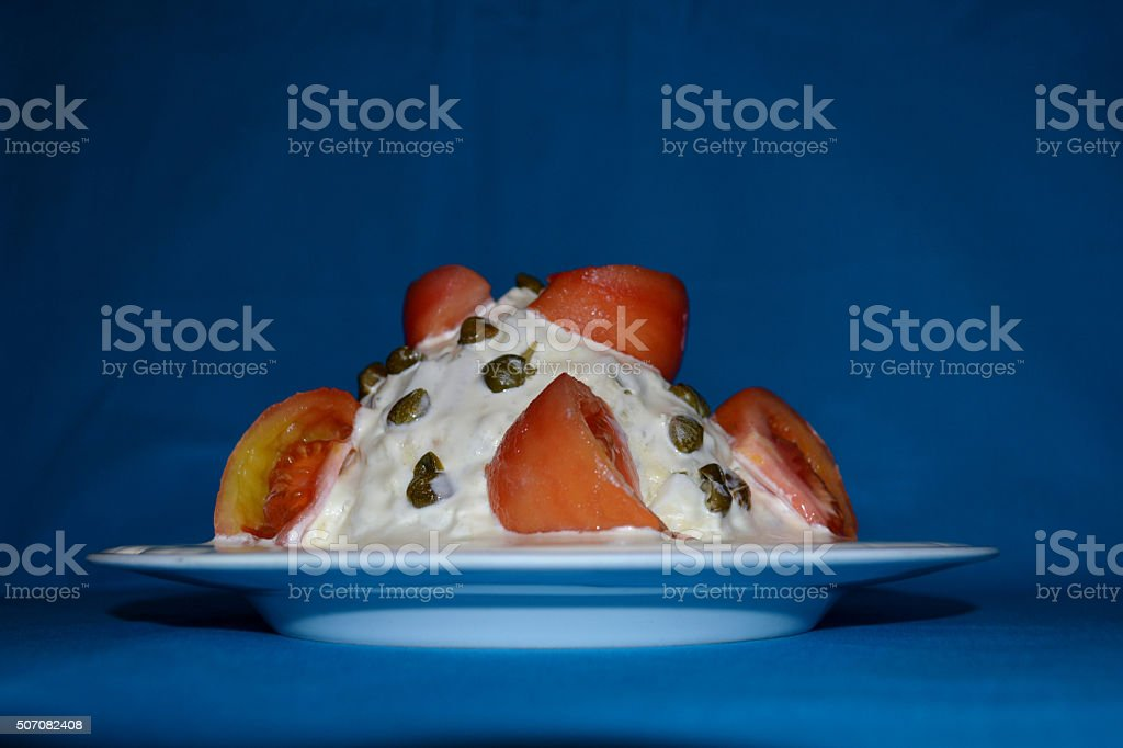 The famous Russian salad Olivier stock photo