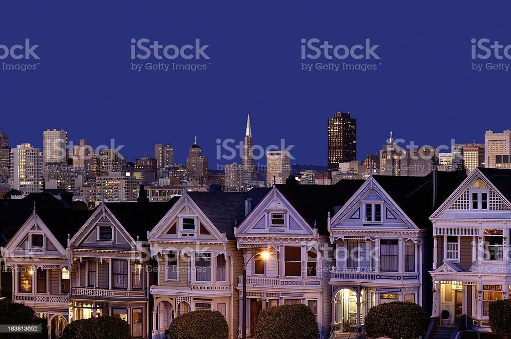 The famous San Francisco view from Alamo Park stock photo
