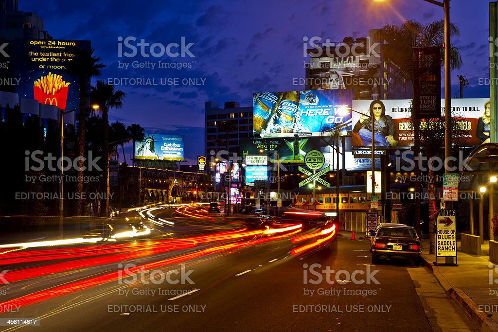 The Famous Sunset Strip in Los Angeles stock photo