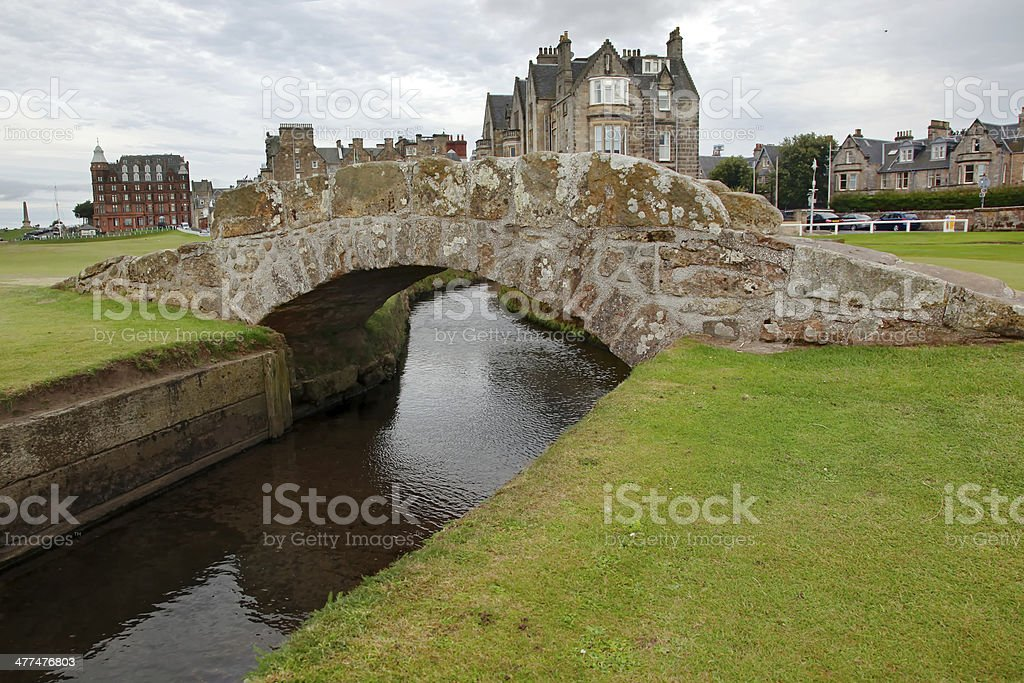The famous Swilcan bridge on St Andrew Old Course stock photo