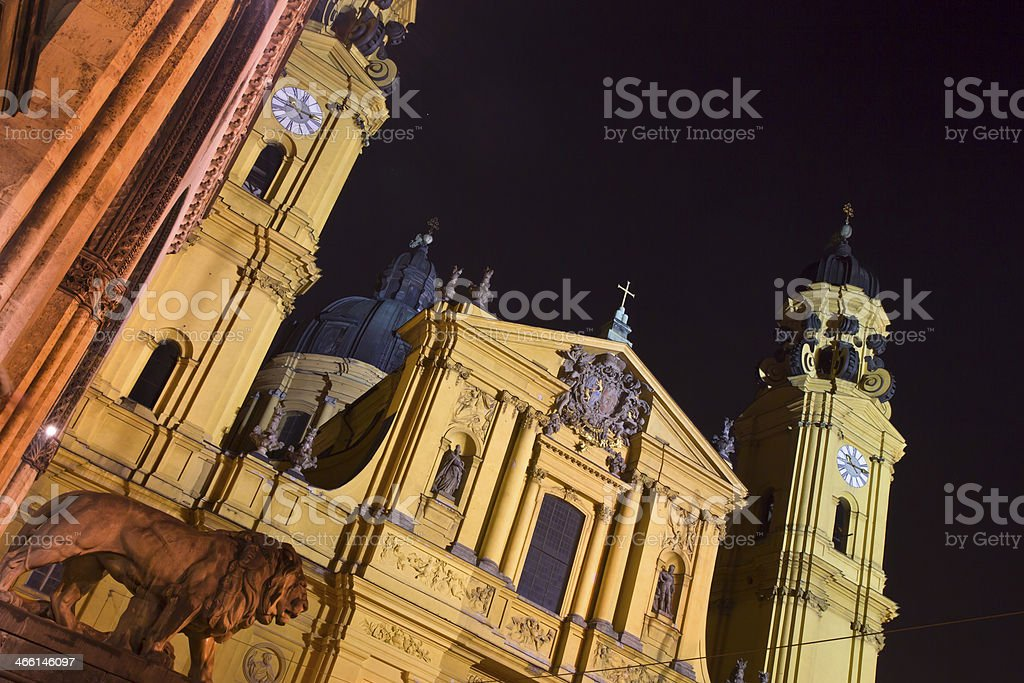 The famous Theatinerkirche church in Munich, Germany, at night stock photo