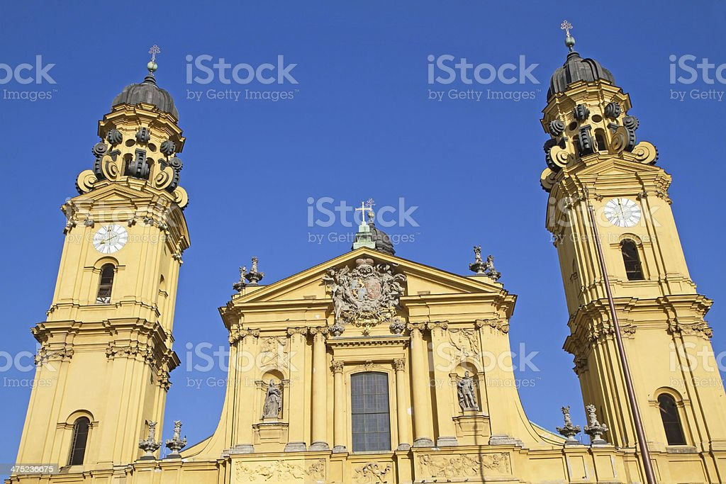 "The famous ""Theatinerkirche"" church in Munich, Germany stock photo"