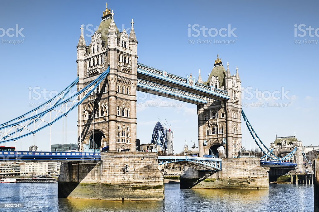 The famous Tower Bridge with bright blue ropes connected royalty-free stock photo