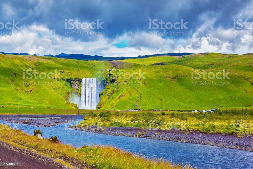 The famous waterfall Skogafoss stock photo