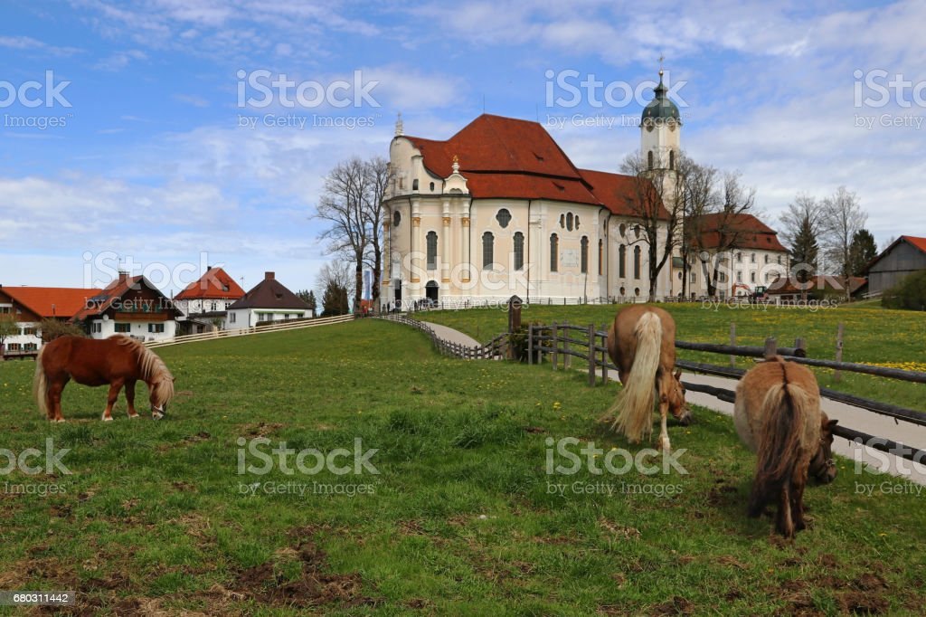 The famous Wieskirche in Steingaden in Bavaria (Germany) stock photo