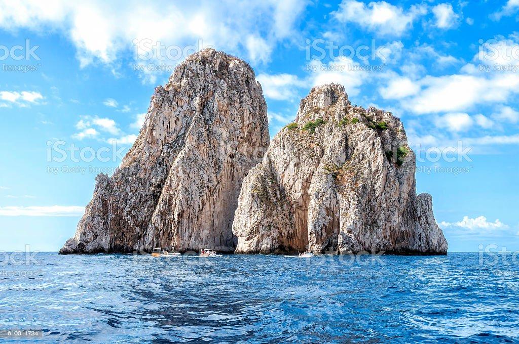 The faraglioni of Capri Island, Italy. stock photo