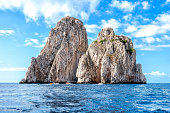 The faraglioni of Capri Island, Italy.