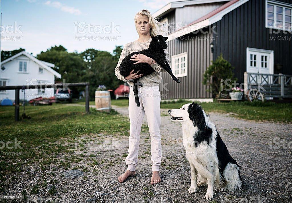 The farmer's daughter stock photo