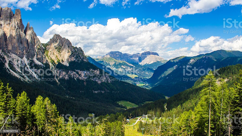 The Fassa Valley in the Dolomites, Italy stock photo
