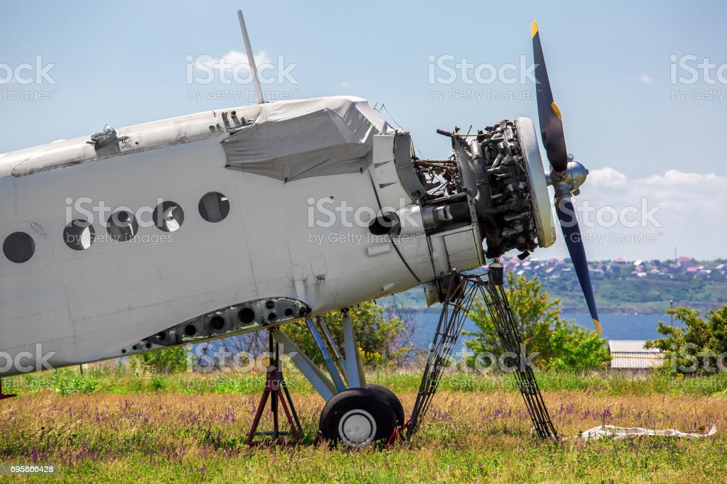 the faulty plane on repair restoration. stock photo