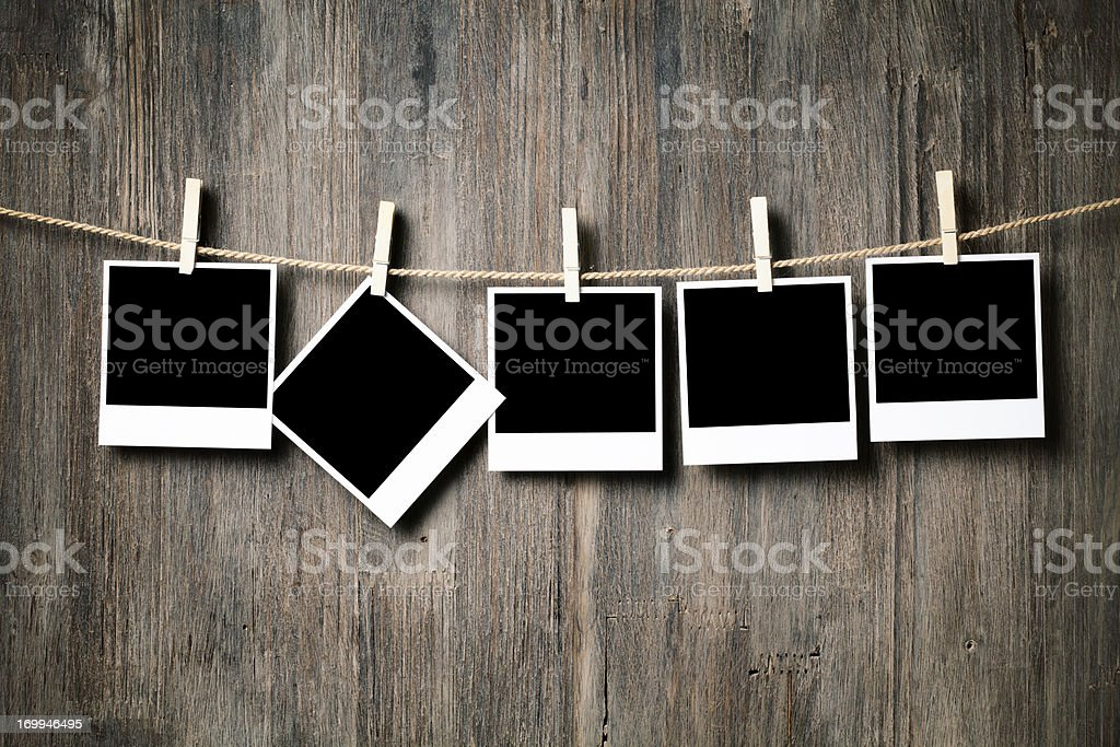 The Favourite - Polaroid Clothesline Clothespin Wood stock photo