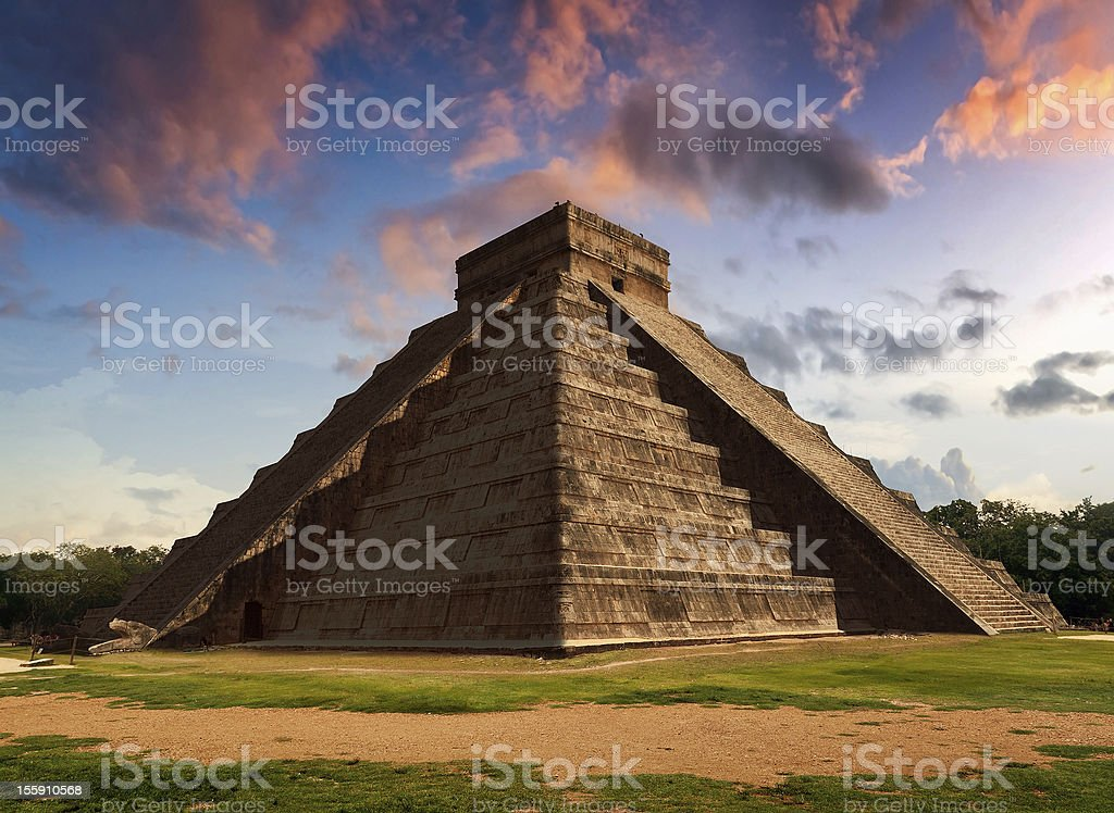 The Feather Serpent - Equinox in Kukulkan Pyramid, Chichen Itza stock photo