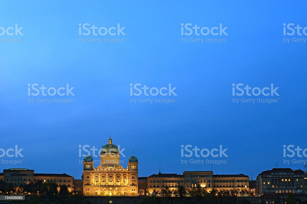 The Federal Palace of Switzerland at dusk royalty-free stock photo