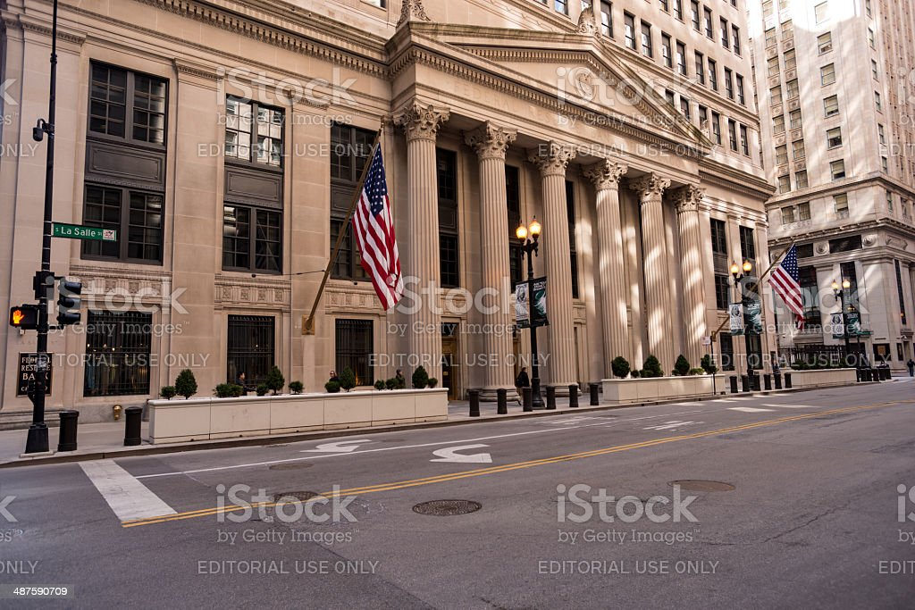 The Federal Reserve Bank of Chicago stock photo
