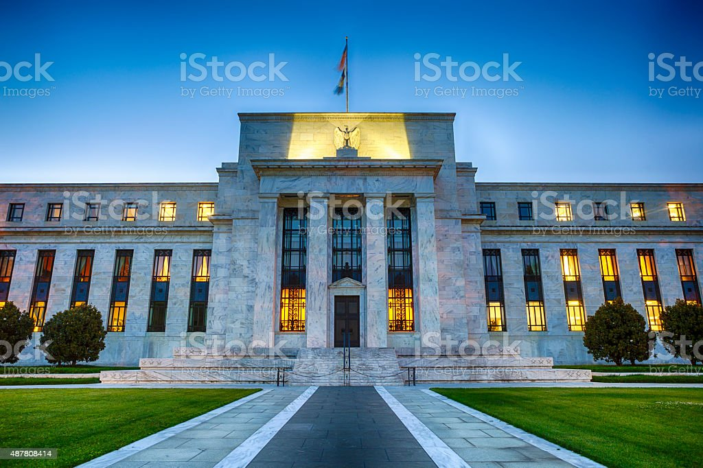 The Federal Reserve Building In Washington DC, USA stock photo