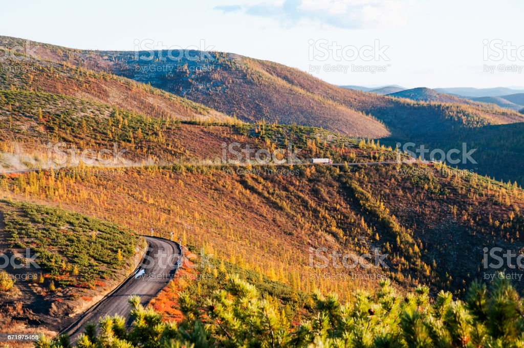 The federal road 'Kolyma' in Eastern Siberia has a length of 2221 km. stock photo