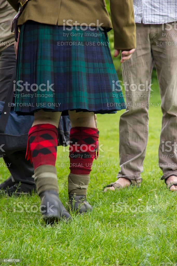 The feet of a man Scottish warrior stock photo
