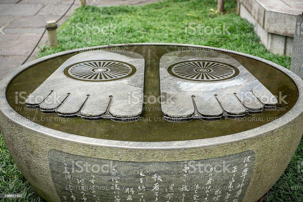 The feet of Buddha in Hasedera Temple stock photo
