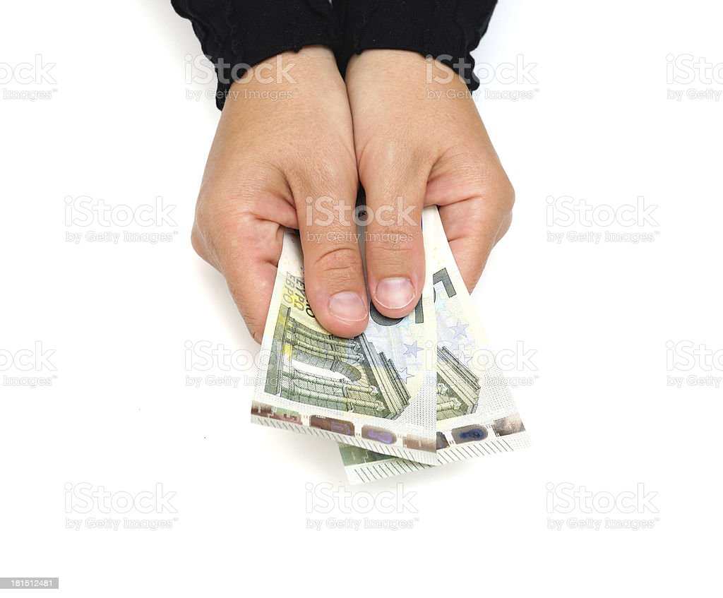 The female hand holds euro banknotes royalty-free stock photo