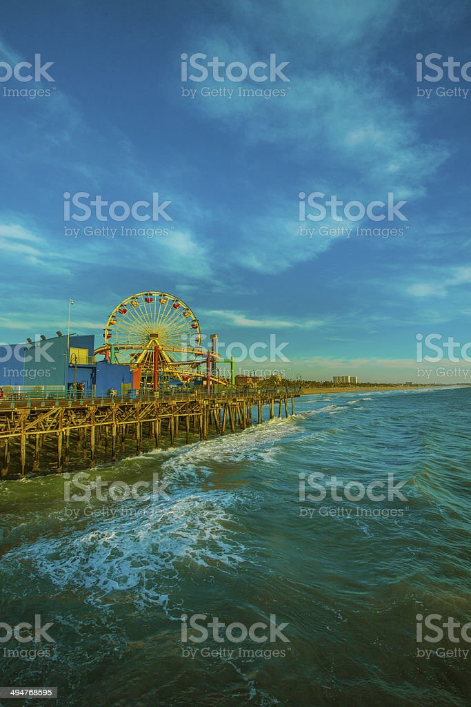 The Ferris Wheel at the Santa Monica Pier, California stock photo