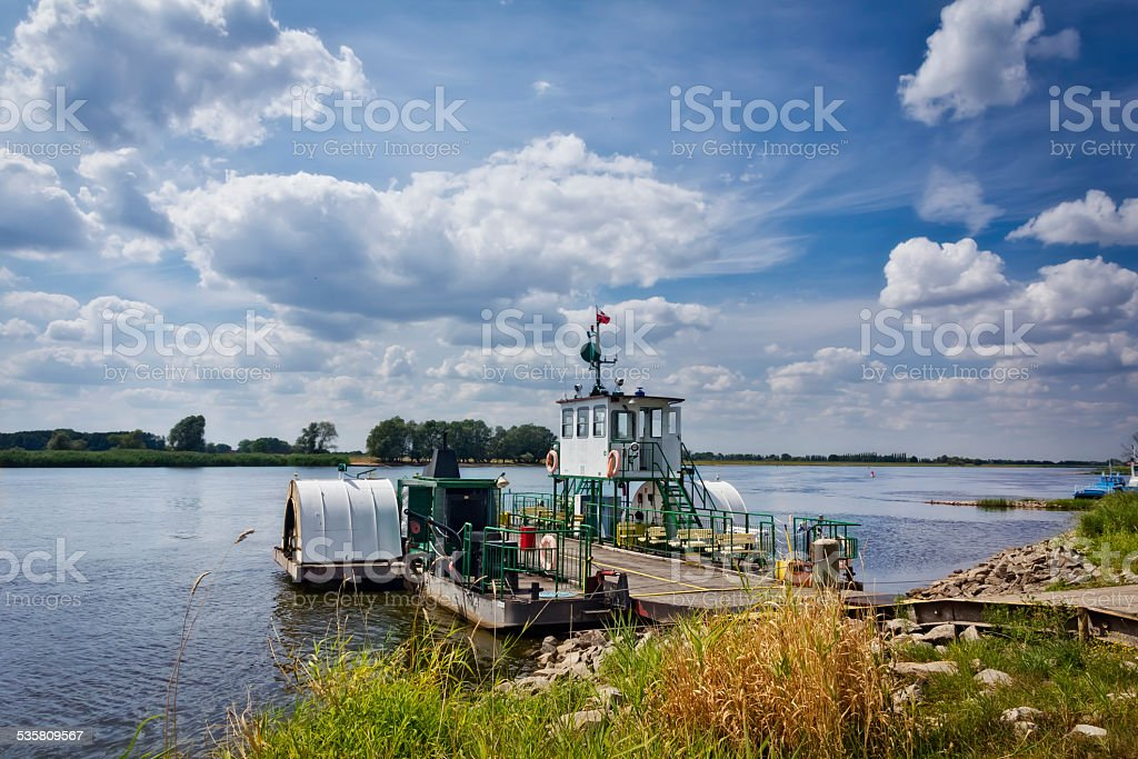 The ferry across the Oder river, Poland stock photo